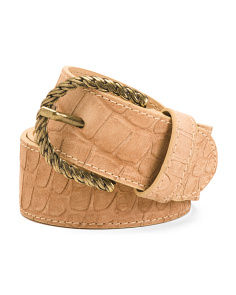 Women's Made In Italy Leather Crocco Belt