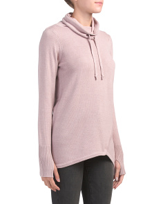Active Crossover Hem Scrunch Neck Sweater