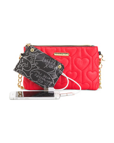 Heart Strings Quilted Crossbody With Portable Charger