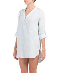 Made In Italy 2 Button Linen Cover-up Shirt