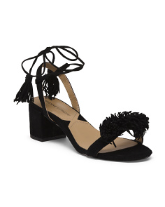 Suede Ruffle Ankle Wrap Sandals
