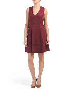 Juniors Lynne Faux Suede Skater Dress