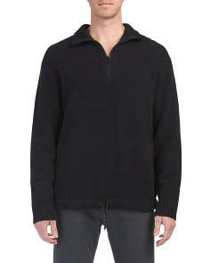 Terry Half Zip Mock Neck Sweater
