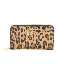 Made In Italy Leather Leopard Wallet
