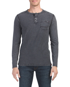 Enzyme Wash Slub Long Sleeve Henley
