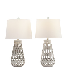 Set Of 2 Open Geo Ceramic Table Lamps