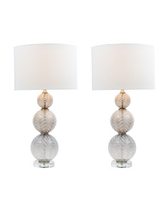 Set Of 2 Stacked Orb Table Lamps