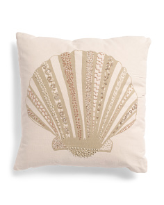 Made In India 18x18 Textured Seashell Pillow