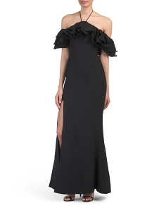 Immerse Off The Shoulder Ruffle Gown