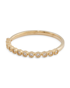 Made In Usa 14k Gold Cz Filigree Stacking Ring