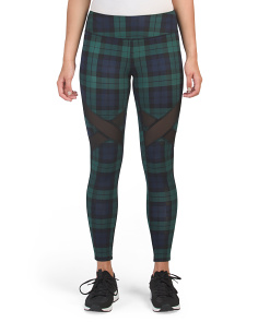 Plaid Printed Leggings With Mesh