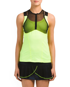 Zip Mesh Camisole Top With Sports Bra