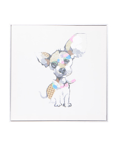 24x24 Abstract Pup Framed Canvas Wall Art