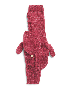 Kate Waffle Knit Mittens With Pop Top