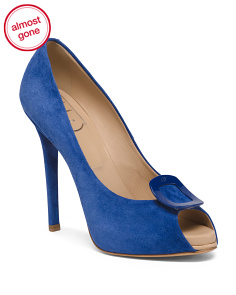 Made In Italy Suede Peep Toe Pumps