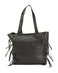 Side Fringe Leather Tote