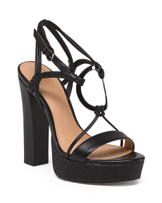Leather Platform Ankle Strap Sandals