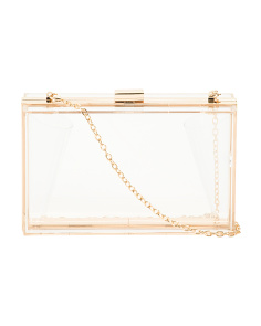 Clear Lucite Box Bag With Shoulder Chain