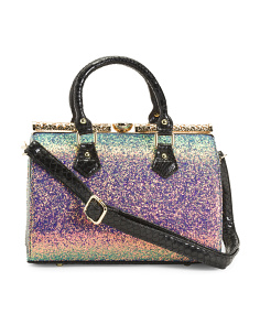 Glitter Satchel With Crocodile Trim