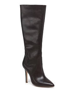 Pointy Toe High Shaft Leather Boots