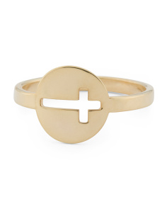 Made In Italy 14k Gold Cut Out Cross Ring