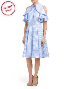 Ruffle Gingham Shirt Dress