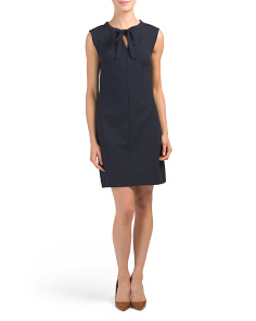Made In Italy Tie Front Crepe Dress