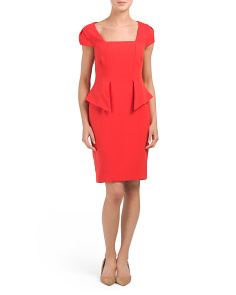 Cap Sleeve Square Neck Peplum Dress