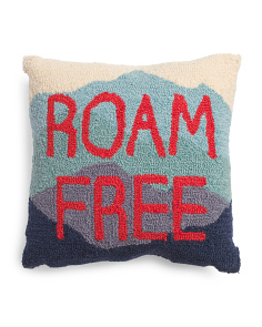 16x16 Hand Hooked Roam Free Pillow