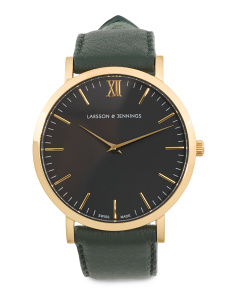 Swiss Made Lugano Classic Leather Strap Watch