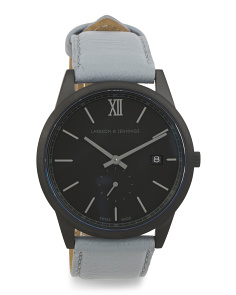 Swiss Made Saxon Leather Strap Watch
