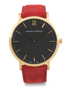 Women's Swiss Made Lugano Classic Leather Strap Watch
