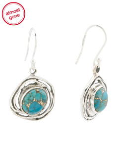 Made In India Sterling Silver Copper Turquoise Earrings