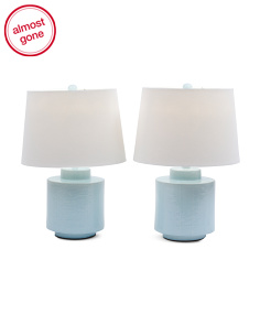19in Set Of 2 Textured Ceramic Table Lamps