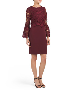 Crepe Dress With Lace Popover