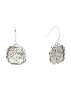 Made In Israel Sterling Silver Tree Of Life Earrings