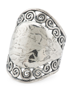 Made In Israel Sterling Silver Hammered Ring