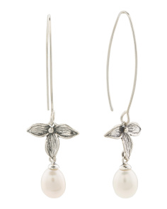 Made In Israel Sterling Silver Pearl And Leaf Earrings