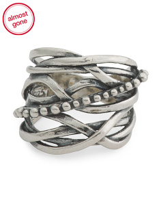 Made In Israel Sterling Silver Textured Highway Ring