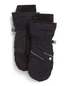 Waterproof Mittens With Leather Palm & Fleece Cuff