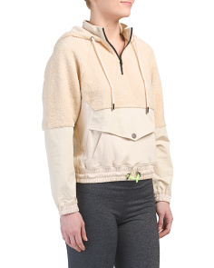 Hooded Fuzzy Pullover Jacket