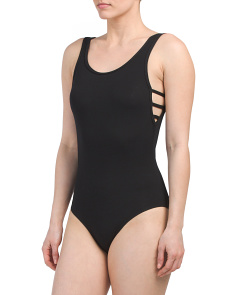 Juniors Bodysuit With Caged Sides