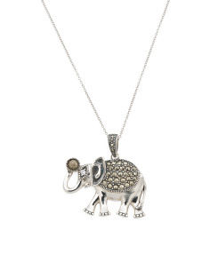 Made In Thailand Sterling Silver Marcasite Elephant Necklace