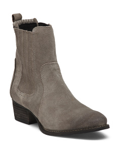 Pull On Suede Ankle Booties