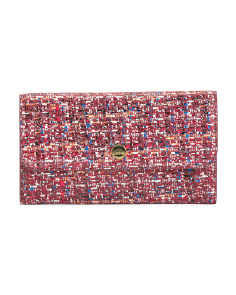 Tweed Print Rfid Flat Leather Pouch