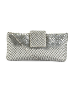 Metallic Fold Over Tab Evening Crossbody