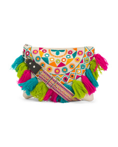 Multi Bright Tassel Beach Crossbody