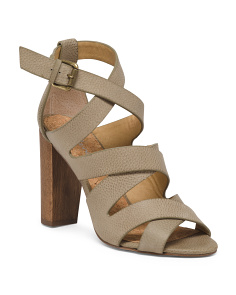 Ankle Strap Wooden Heel Leather Sandals