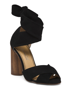 Wraparound Ankle Strap Suede Sandals