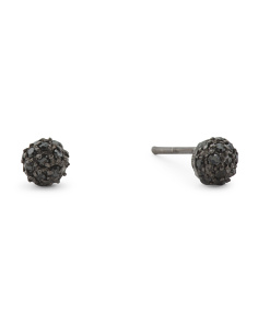 Sterling Silver 5mm Black Pave Cz Ball Stud Earrings